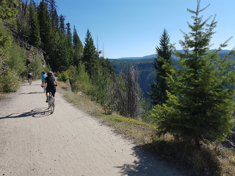 Cycling at Myra Canyon during one of our Multiday Bike Tours
