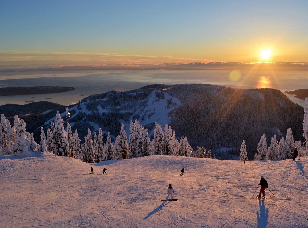 Sunset skiing and snowboarding at the local mountans in Vancouver