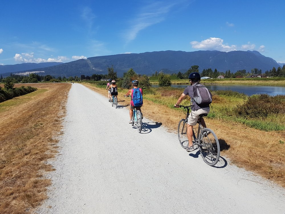 Cycling along the Dykes at Pitt Meadows