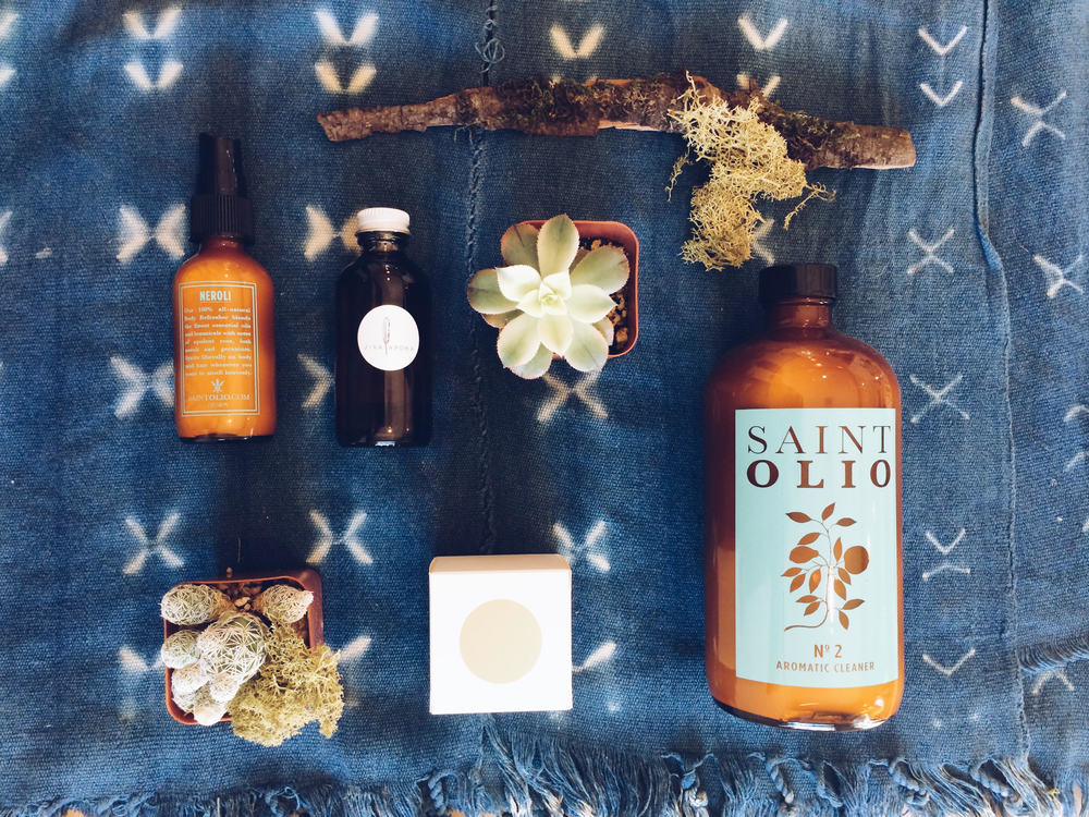 Left to Right: Saint Olio - Body Refresher No. 2, Jiva Apoha - Atman (Spirit) Body, Studio Cue LA - Golda Soap, Saint Olio - Aromatic Cleaner No. 2