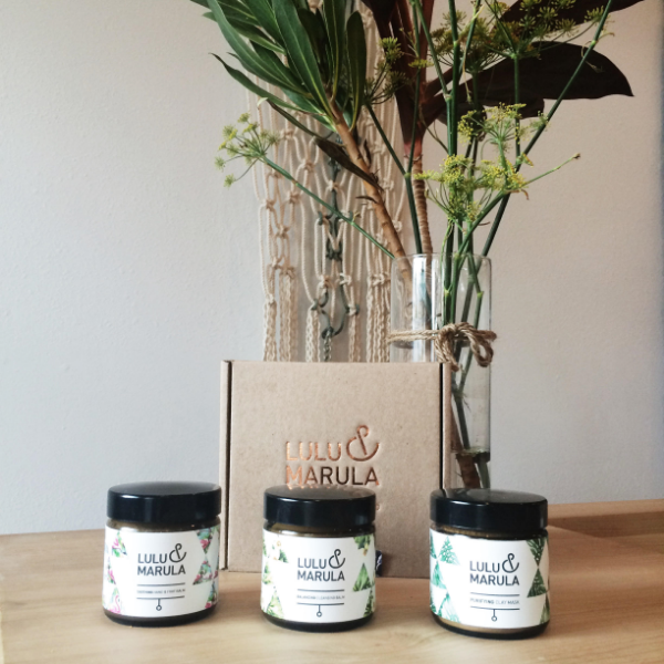 Lulu & Marula Calming Bath & Body Kit, Soothing Hand & Foot Balm, Balancing Cleansing Balm, & Purifying Clay Mask.