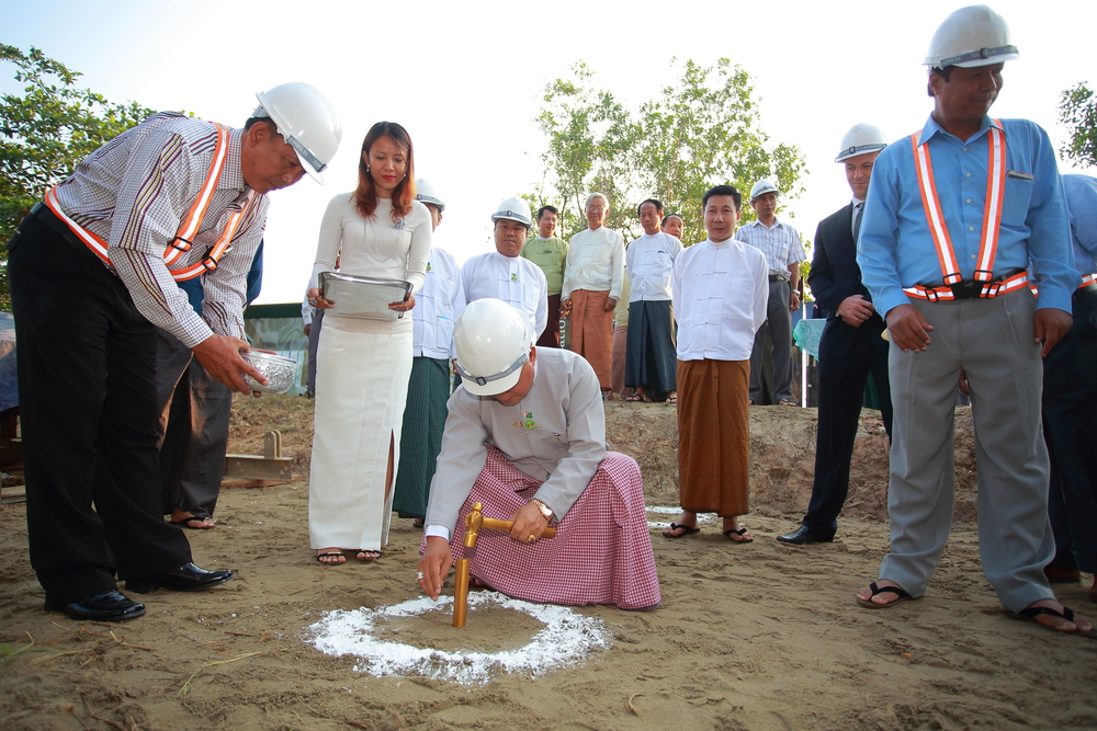 Groundbreaking ceremony at the Platinum Pathein site