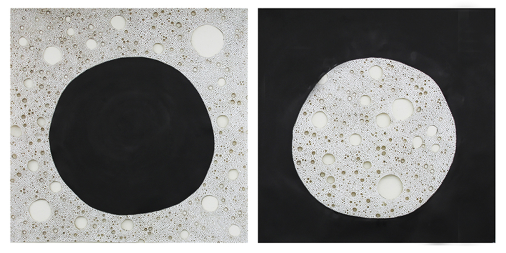 Sol Niger,  2012. Ink and burns on paper. 114 x 240 cm