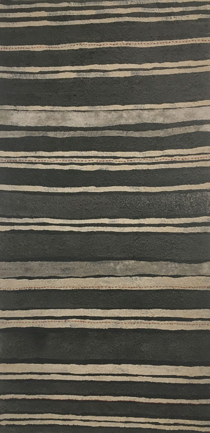 Fire Lines,  2017. Eucalyptus ash and eucalyptus-dyed wool on canvas. 122 x 61 cm