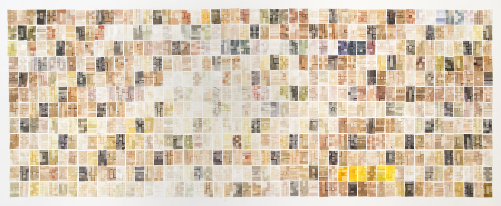 Dye Diary (pieced works) , 2012. Plant dyed wool, silk and linen. Approx. 6.8 x 3 metres. Photo: Brenton McGeachie