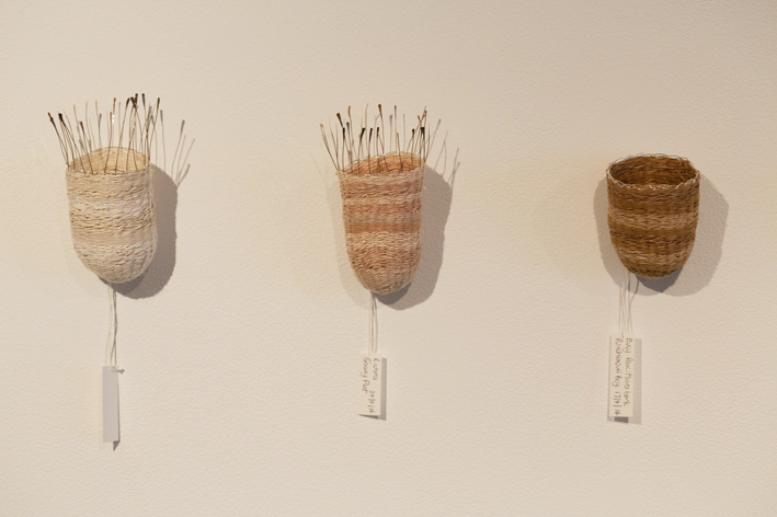 Seed Baskets , 2015. Plant-dyed wool, silk and linen. Approx. 15 x 5 x 5 cm each