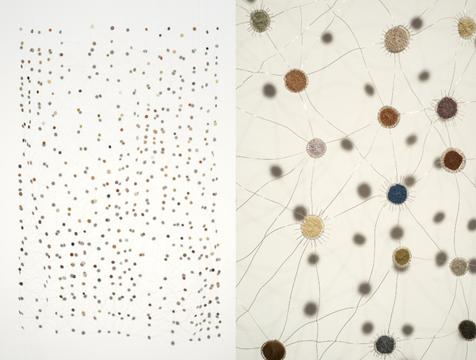 Interconnectedness,  2013. Silver wire, plant dyed silk and wool. 200 x 150 cm