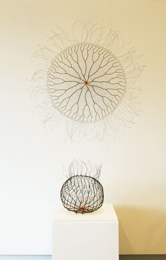 Lithosphere, 2016. Patinated copper wire. Wall piece 130 x 130 x 2 cm