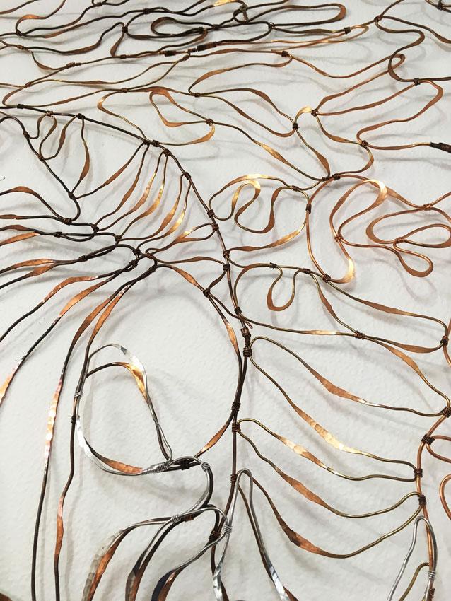 Flow (detail), 2017. Copper and aluminium wire. 202 x 70 cm
