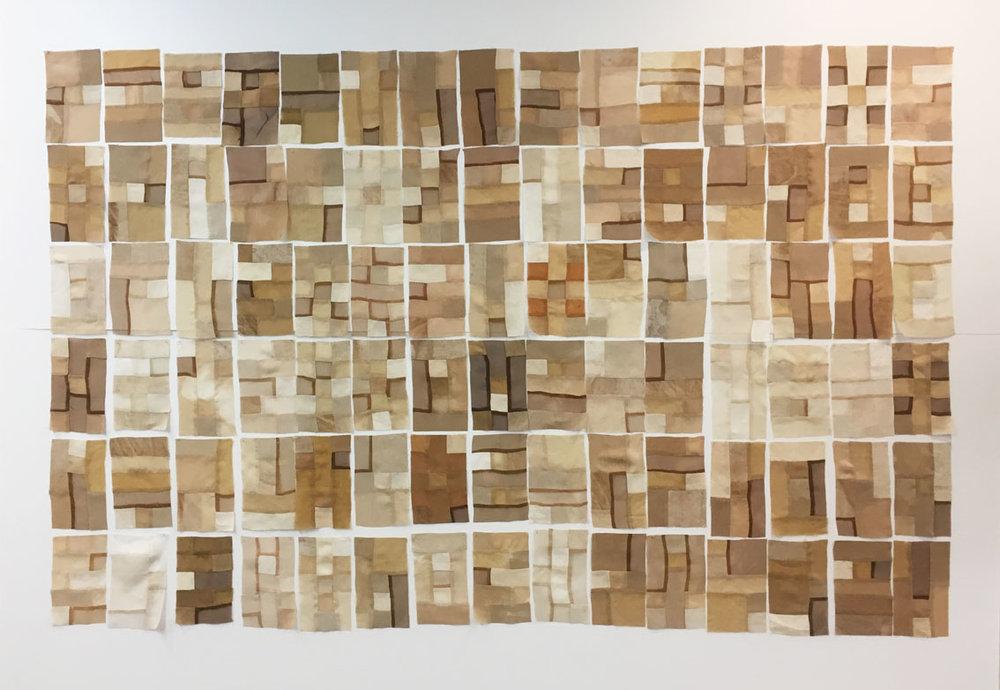 Eucalyptus Bark Dye Diary, 2016. Eucalyptus dyed wool, solk and linen