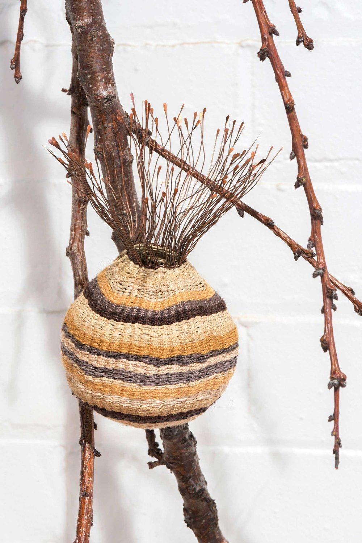 Pomegranate,  copper wire, pomegranate dyed wool, silk and hemp. Photo: Brenton McGeachie