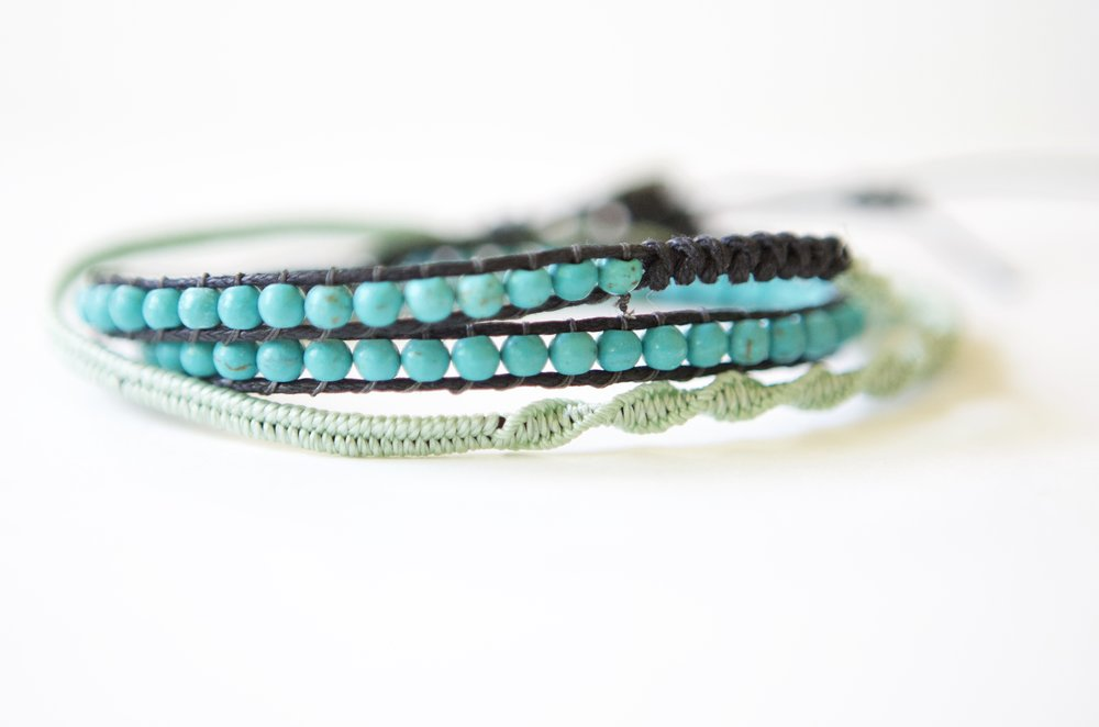 Beaded with turquoise, waxed-cords