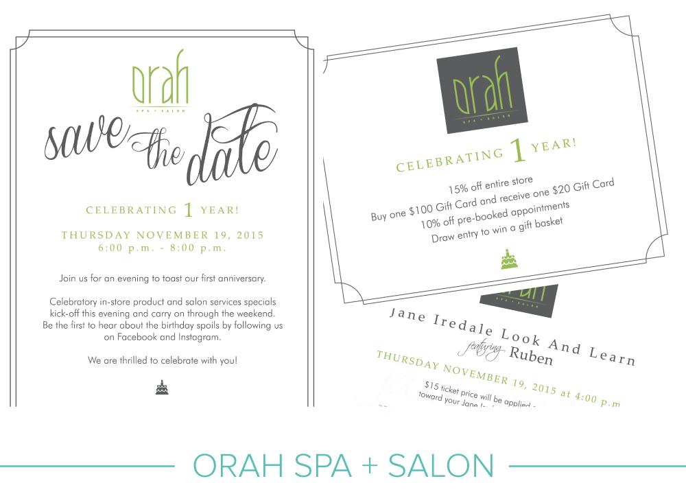 Promotional design: Orah Spa + Salon