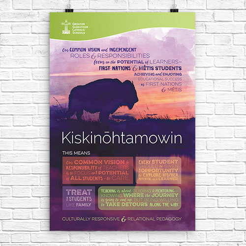 Kiskinōhtamowin   (Cree) Culturally Responsive and Relational Pedagogy   Our common vision and independent roles and responsibilities focus on the potential of learners – First Nations and Metis students achieving and enjoying educational success as First Nations and Metis.   Image:  bisson