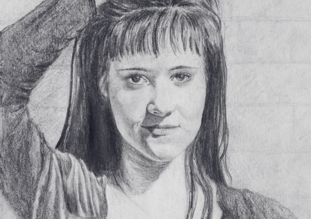 My first and only self portrait, sketched during high school in 1994.