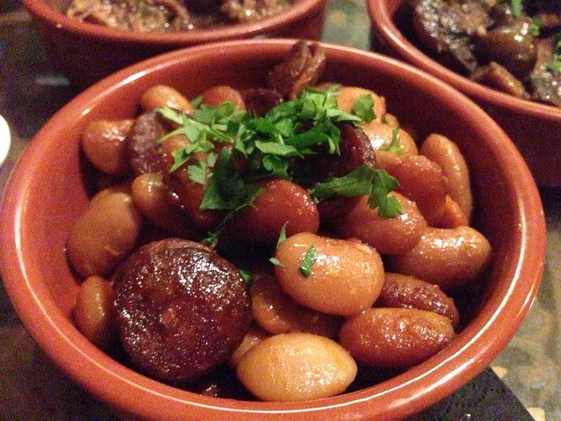 Beans and chorizo at El Faro, Auckland.