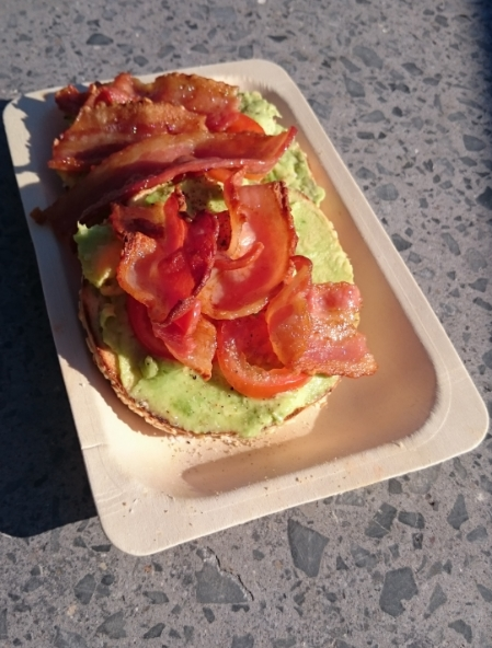 Avocado and bacon bagel at Best Ugly Bagels, Auckland.