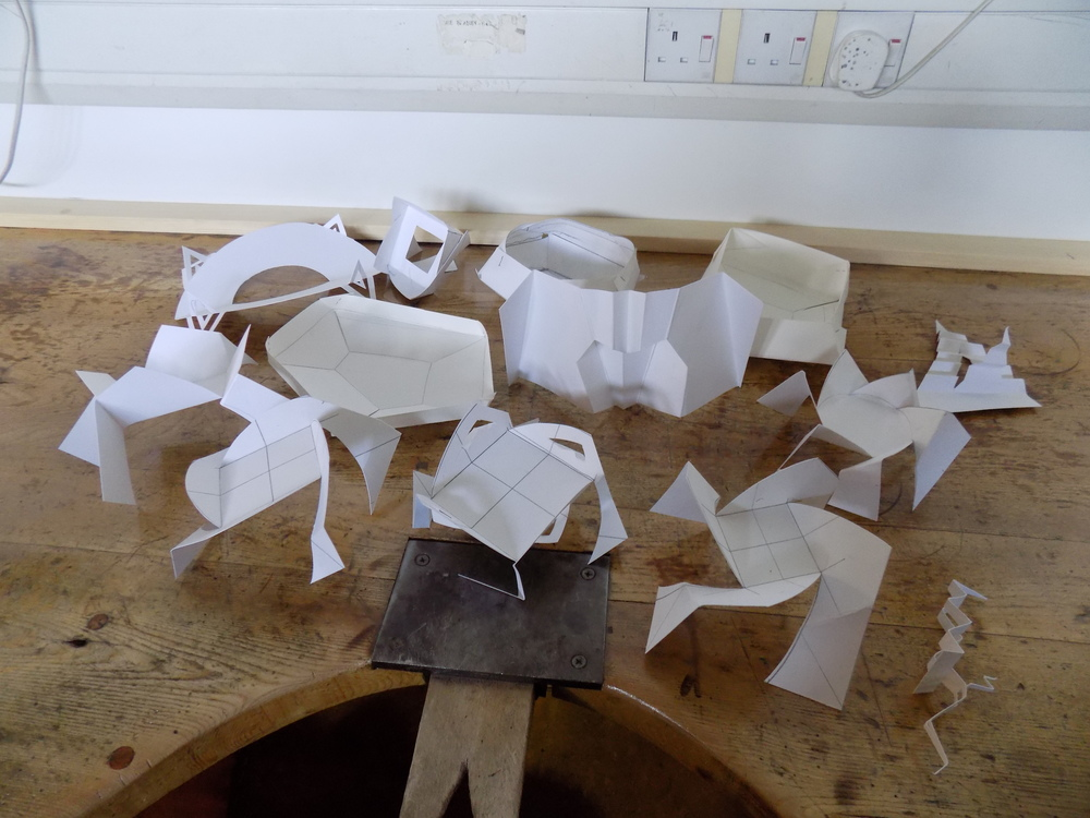 Here are a selection of paper test models I created during a silversmithing class at West Dean College earlier this year, with Ane Christensen. They may look like nothing but they were the start of something special!
