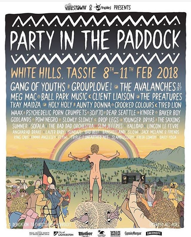 Huuuuuge we are playing @partyinthepaddock next year will our pals @pownegro and @sofalaband and a plethora of amazing bands. See ya soon Tassie!