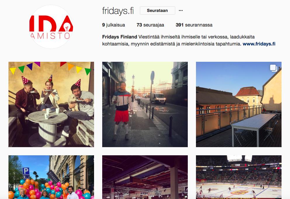Tässäon esimerkiksi Fridaysin Instagram-profiili.