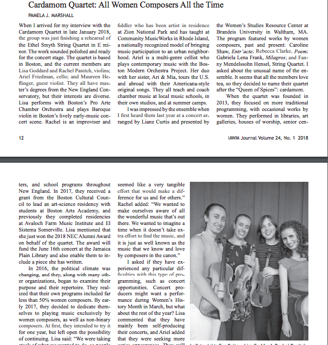 Cardamom Quartet featured in Journal of the iawm, article by Pamela Marshall, Pages 12-14
