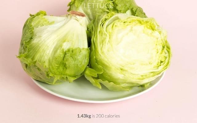 2 pés de alface = 200 calorias