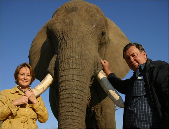 Rory and Lindie Hensman with Tembo (once deemed a problem animal) in 2010