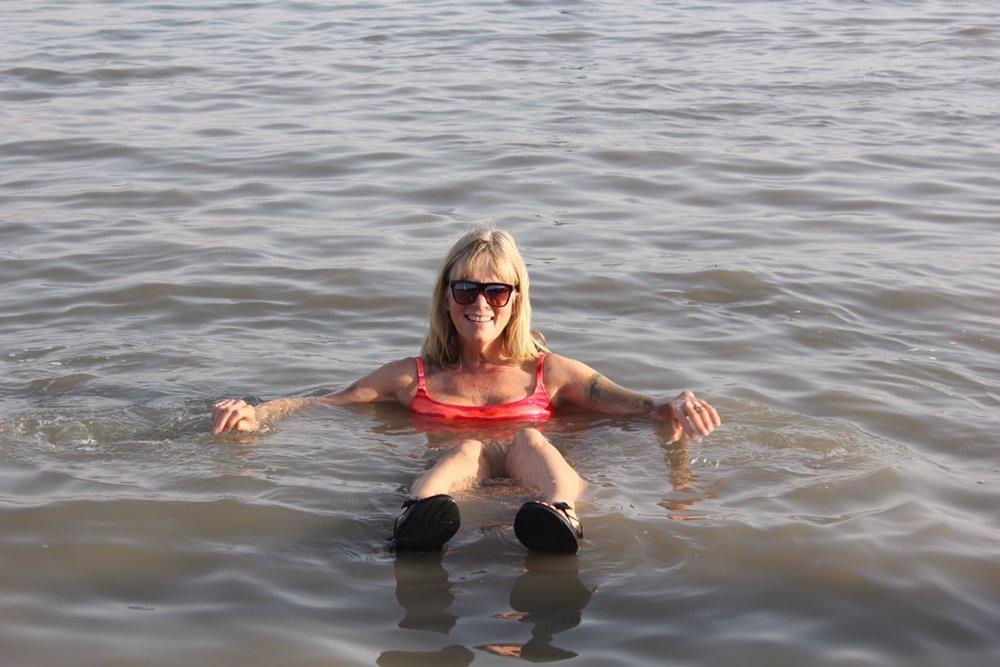 Kathy Evertsberg enjoying the salt bath