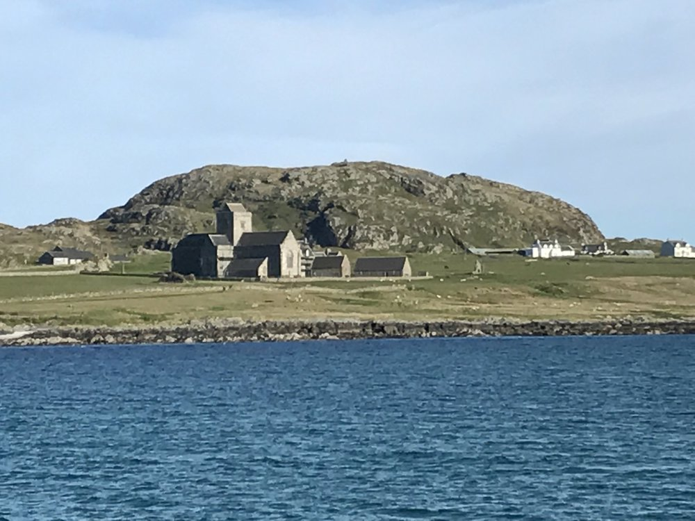 The view of the Abbey on Iona as we ferried from the Isle of Mull to Iona