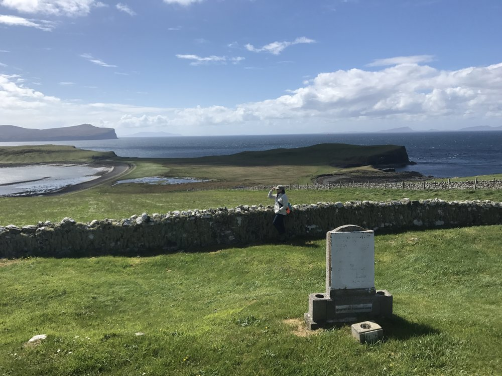 Overlooking Dunvegan Head...the Ruins of the Trumpan church can be seen in the distant background--the scene of an historic massacre by the MacDonalds of the MacLeods