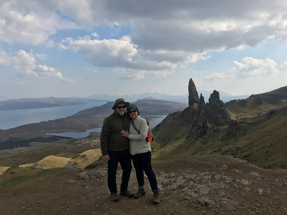Overlooking The Old Man of Storr...that's the rock formation to the right.  :)