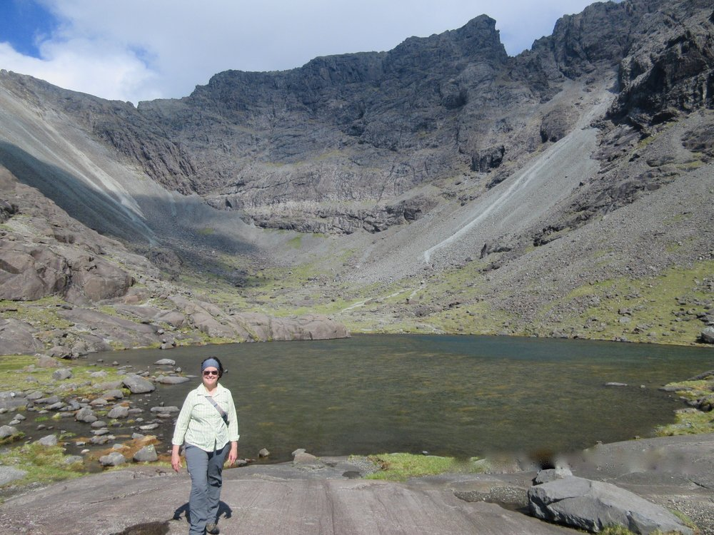 At the very top of the second hike (after the fog) we came across this small lochan in upper Coire Lagan.