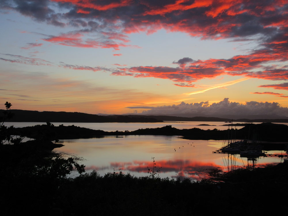 One of the several astounding sunsets from our deck in Craobh Haven