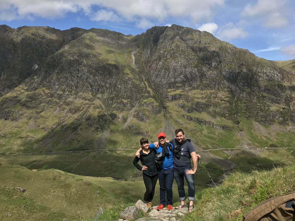 Julia, Jordan & James hiking the magnificent Highlands just outside of Glencoe