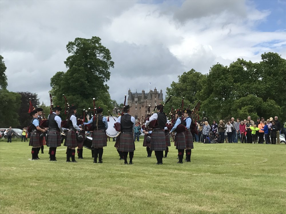 The pipe band competition at the Strathmore Highland Games at Glamis Castle