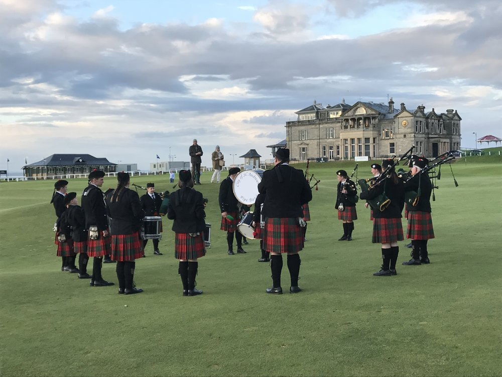 The evening we arrived at our hotel by the 18th Green of famed golf course in St. Andrews, a pipe band arrived on scene!  It was a wonderful moment.