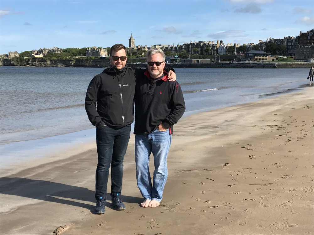 "James was able to join us during our visit to St. Andrews...on the sands where the opening scene from ""Chariots of Fire"" was filmed."