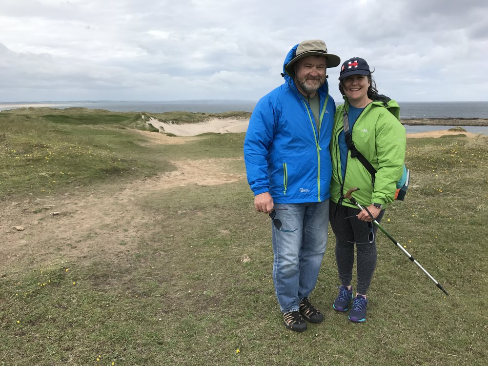 Hiking the dunes of Lindisfarne