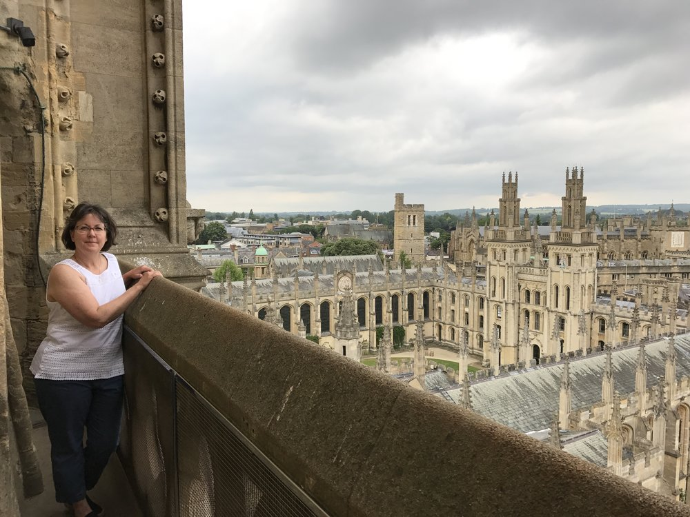 Atop the tower of St. Mary's Church in Oxford