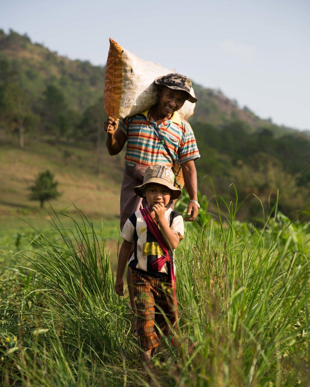 Father Son Portrait Kalaw Myanmar Farmer