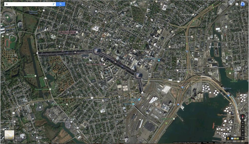 satellite view of Route 34 with the esplanade re-imagined in its place.