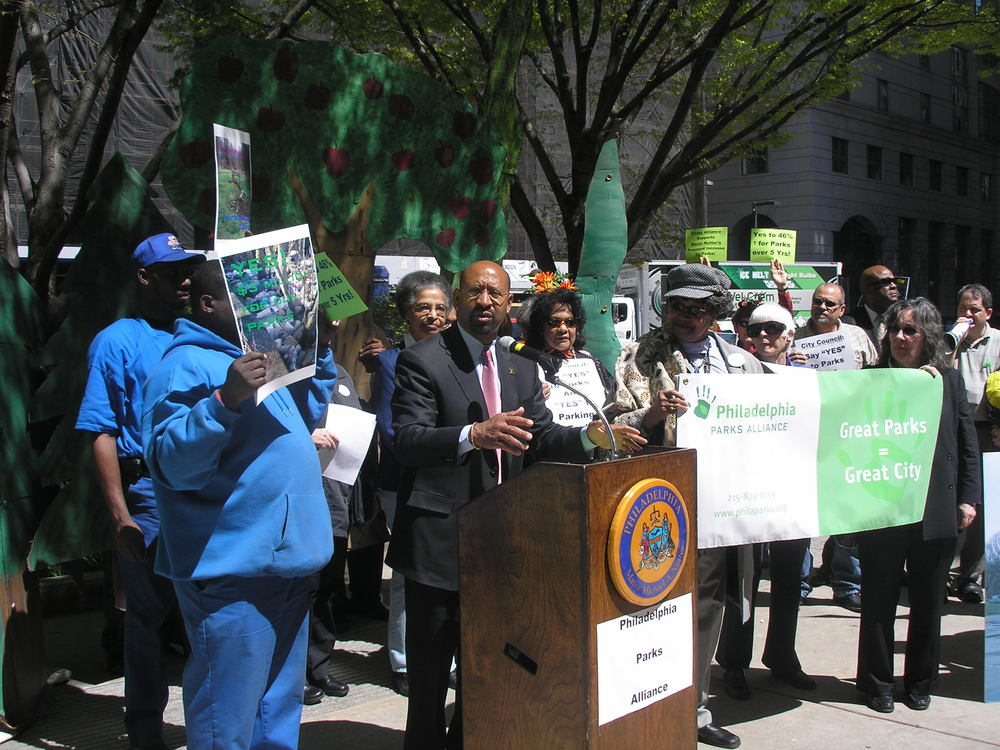 Mayor Nutter speaks at park funding rally