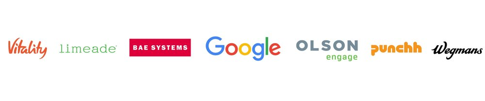 Client logo  Vitality, Limeade, Bae Systems, Google, Olson Engage, Punchh, Wegmans