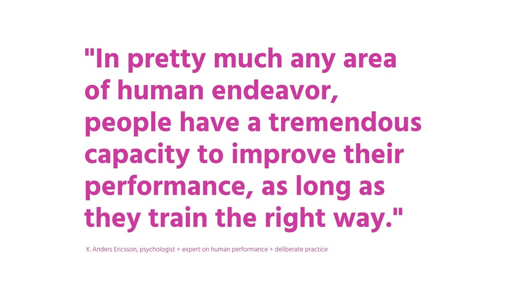 """In pretty much any area of human endeavor, people have a tremendous capacity to improve their performance, as long as they train the right way""  K.Anders Ericsson, psychologist+expert on human performance+ deliberate practice"