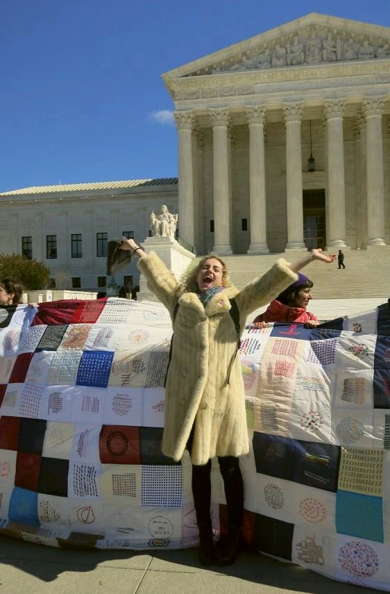 Prosper, wearing Nana's coat, in front of SCOTUS, March 2016