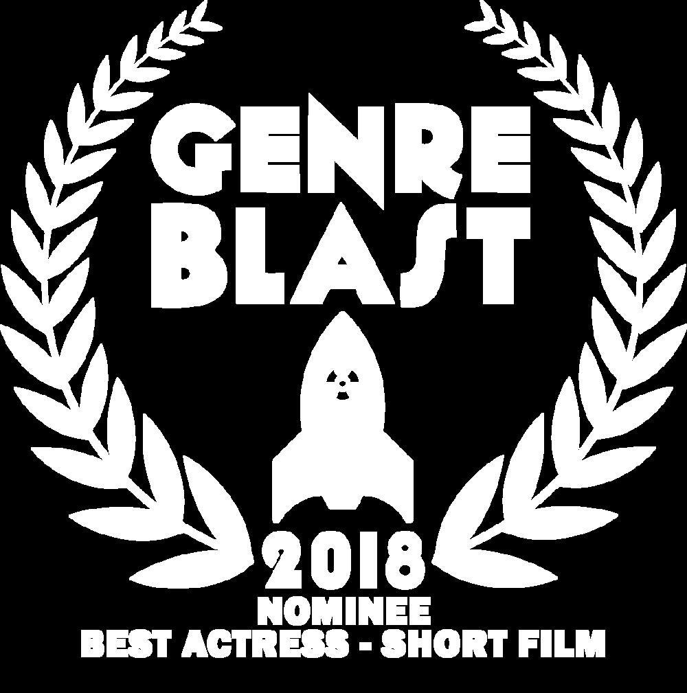 Genre Blast Laurels-BLACK best actress short film nominee white.png