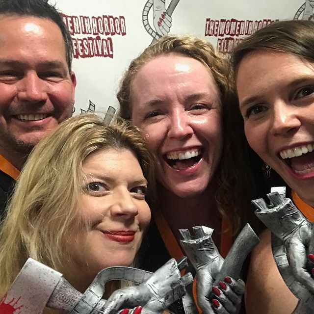 This #filmfestival is soooooooo fun!! We had a blast and can't wait for next year 🎥🎉🎉 #WIHFF Thank you @samanthakolesnik & @kreepygrrl for the amazing time at @womeninhorrorfilmfestival