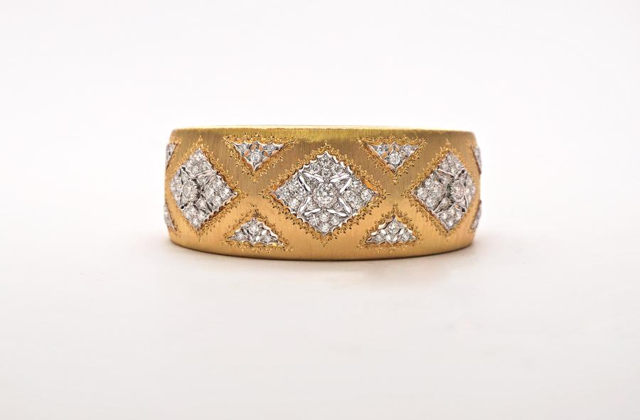 Vintage Buccellati Gold & Diamond Cuff Bracelet.
