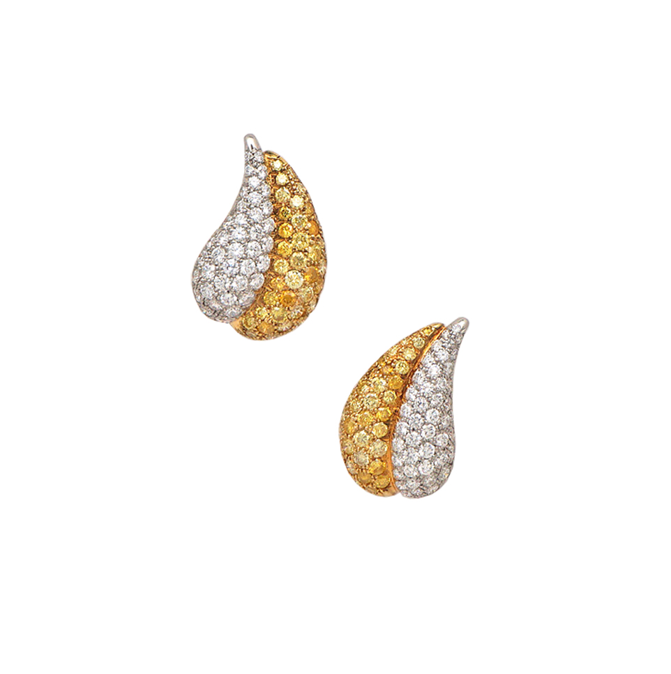 Van Cleef & Arpels Diamond & Yellow diamond Paisley Earclips.