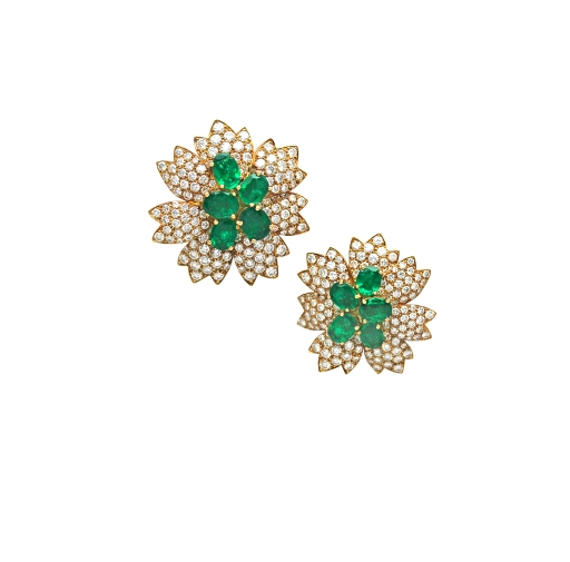 Vintage Van Cleef & Arpels Emerald & Diamond Flower Earclips.